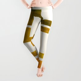 Geometric Pattern L Shaped Watercolor Painting Olive Green Yellow Ochre Colorful Pattern Art Leggings