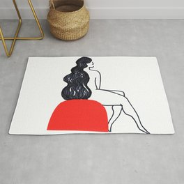 Minimal Line Art Woman, Waiting, Red and Black doodle art, Modern and Minimalist Rug