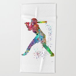 Baseball Softball Player Sports Art Print Watercolor Print Girl's softball Beach Towel