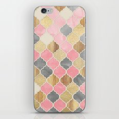 Silver Grey, Soft Pink, Wood & Gold Moroccan Pattern iPhone & iPod Skin