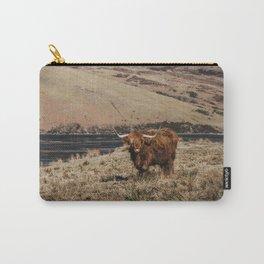 Scottish highland cattle vintage portrait landscap Carry-All Pouch