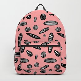 Many Autumn Plant Seeds Pattern in Pink Backpack