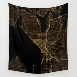 Black and gold Seattle map Wall Tapestry