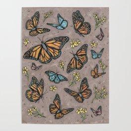 monarch butterflies. Poster
