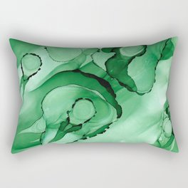 #028 - Monochrome Ink in Green Rectangular Pillow