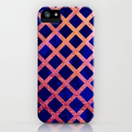 Blue and Gold Geometric Pattern iPhone Case