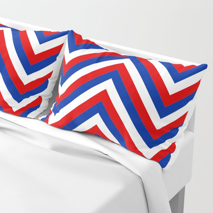 Red White and Blue French Flag Jumbo Chevron Pattern Pillow Sham
