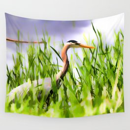 Master of the Marshes  -  Blue Heron Wall Tapestry
