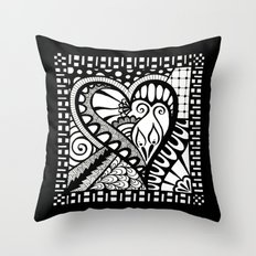 Abstract heart doodle Throw Pillow
