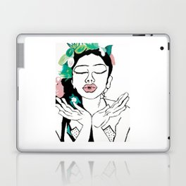 Kisses: a pretty, minimal, portrait illustration in black and white with a hint of color Laptop & iPad Skin