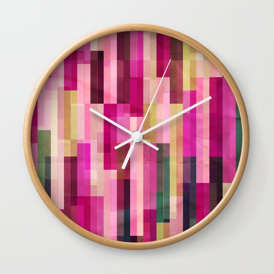 Pinks and Parallels Wall Clock