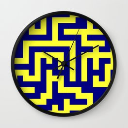 Electric Yellow and Navy Blue Labyrinth Wall Clock