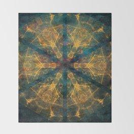 Tribal mandala in blue and gold Throw Blanket