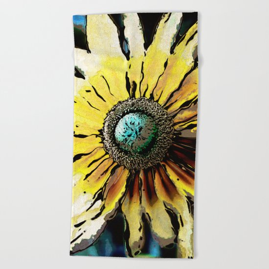 Golden Daisy Flower Beach Towel