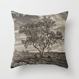 A tree in the mountains Throw Pillow