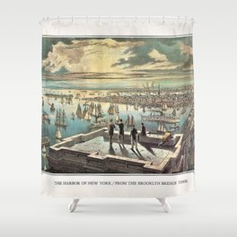 Vintage Currier & Ives New York Harbor Color Lithograph Wall Art Shower Curtain