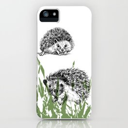 Hedgehogs print iPhone Case