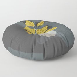 yellow plant and vase in the dark Floor Pillow
