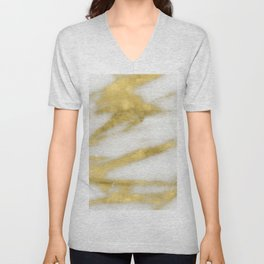 Marble - Gold Marble on White Pattern Unisex V-Neck