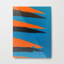 Retro Florida  // go gators university football colors orange blue black Gator palm leaves Metal Print
