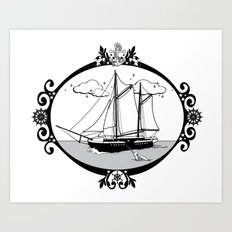 Sailing Ship Oval Art Print