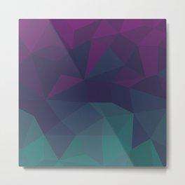 Abstract Geometric Gradient Pattern between dark Magenta and dark Cyan Metal Print