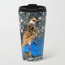 Bird taking a bath Travel Mug