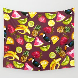 Burgundy yellow pink watercolor tropical bird fruit Wall Tapestry
