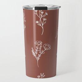 Botanical Wildflowers Line Art Travel Mug