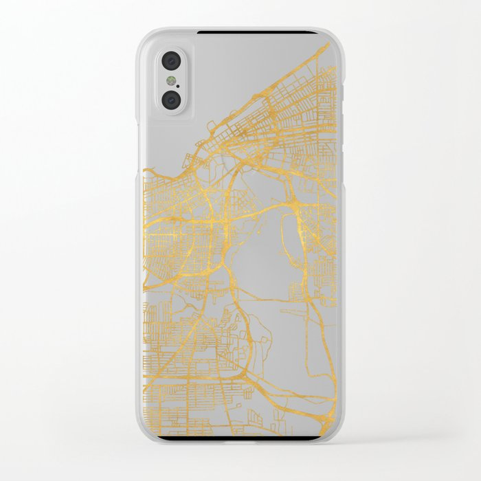 CLEVELAND OHIO CITY STREET MAP ART Clear iPhone Case