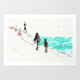Let's Go Together - Mom and Daughter Surfing Art Print