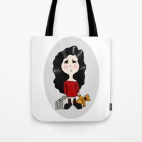 cartoon Tote Bags featuring cartoon by Necla Karahalil