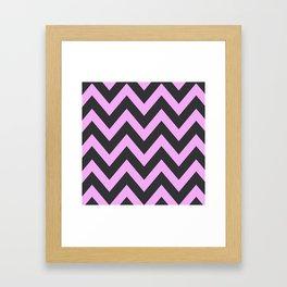 Pink & Charcoal Chevron Framed Art Print