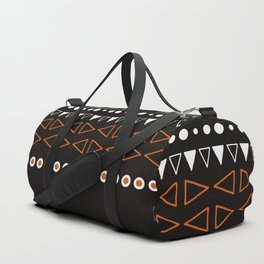 Bohemian orange, black&white tribal minimalistic pattern Duffle Bag