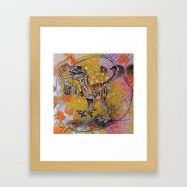 Happy-Go-Lucky Tipsy Velociraptor Framed Art Print