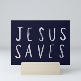 Jesus Saves x Navy Mini Art Print