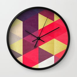Colorful and golden geometric triangles IV Wall Clock