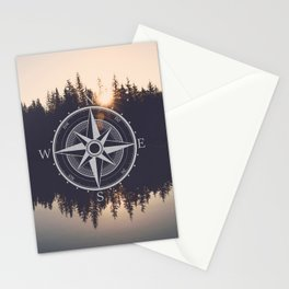 Wooded Lake Reflection Compass Stationery Cards