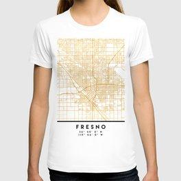 FRESNO CALIFORNIA CITY STREET MAP ART T-shirt