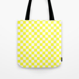 White and Electric Yellow Checkerboard Tote Bag