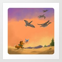 Fox and Boots - Migration Art Print