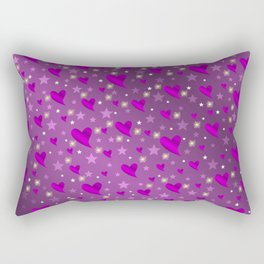 purple shiny stars and metal structure lilac sweet hearts Rectangular Pillow