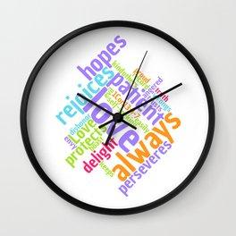 LOVE IS PATIENT 1 CORINTHIANS Word Art Wall Clock