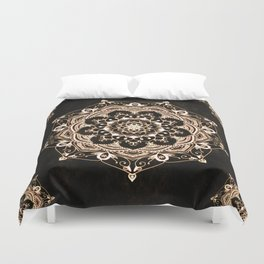 Glowing Spirit Black White Mandala Design Duvet Cover