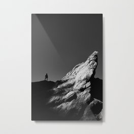 Girl standing on pride rock look-alike in Bic National Park Metal Print