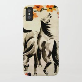 horses under floral tree iPhone Case