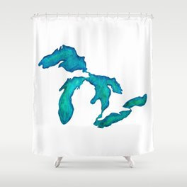 watercolor Great Lakes Shower Curtain