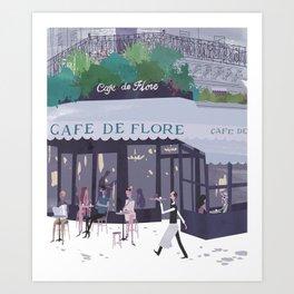 Cafe de flore Art Print