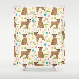 Brussels Griffon cute easter dog pattern cute pet portrait dog art dog breeds by pet friendly Shower Curtain