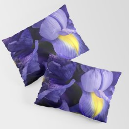 Vibrant Purple Iris Flowers Close-Up Artsy Photo Pillow Sham